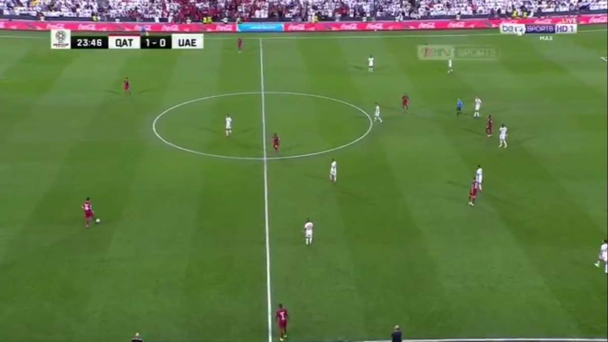 صورة اهداف مباراة قطر والامارت 2:0 في الشوط الاول يلا شوت