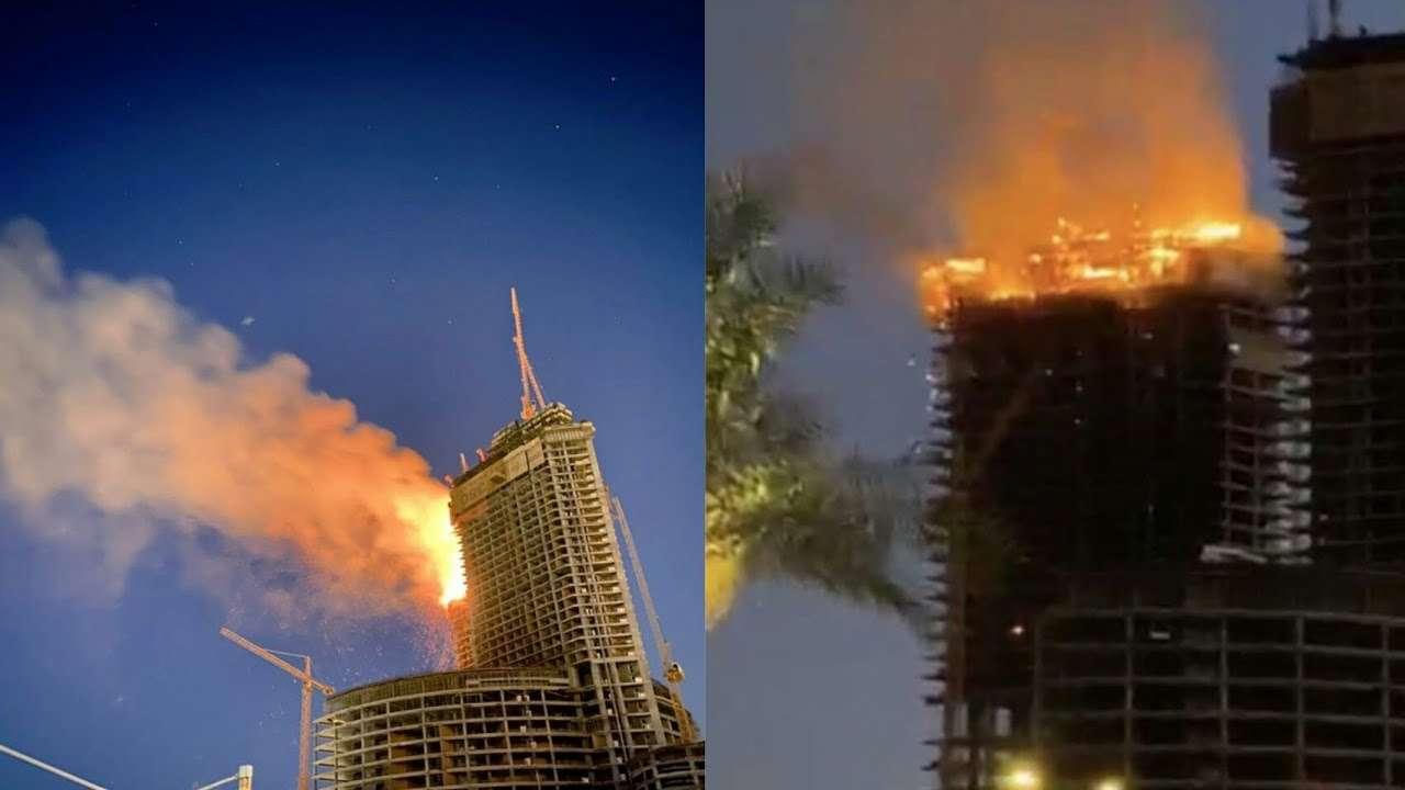 صورة حريق برج جده وماهو سبب الحريق